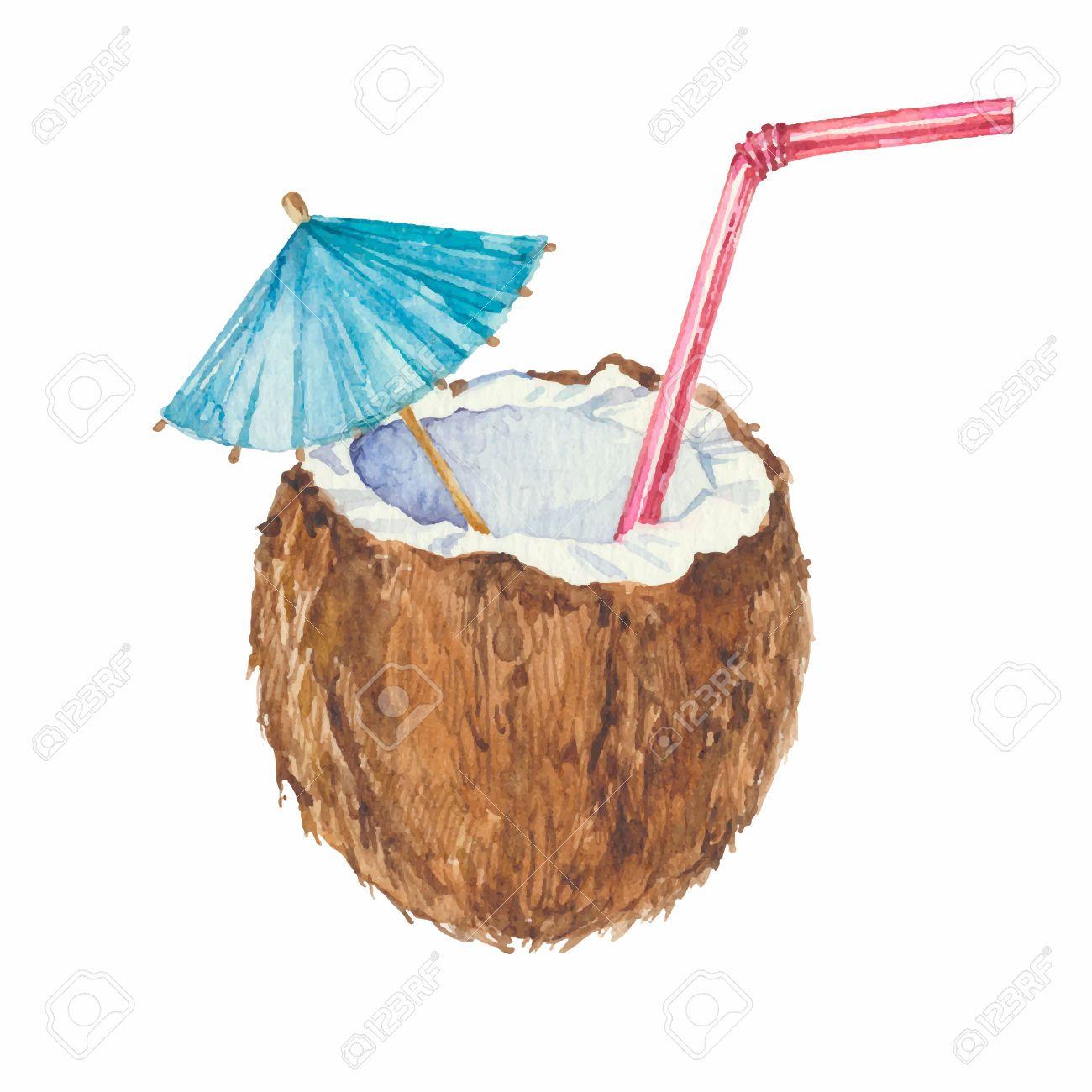 Watercolor Coconut Google Pretrazivanje Cocktail Illustration