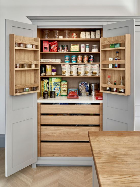 Surbiton Light Grey Kitchen Pantry Cupboard With Oak Interior Cabinets Hand Painted In