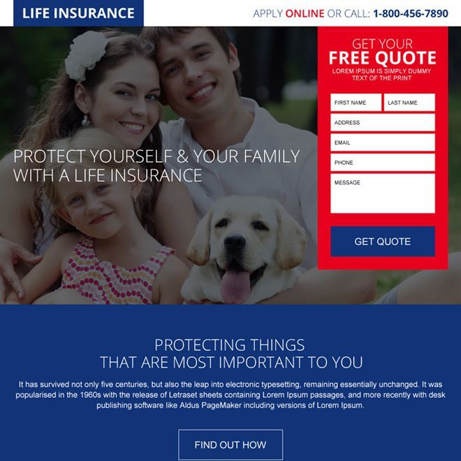 free quote lead capturing landing page design for life ...