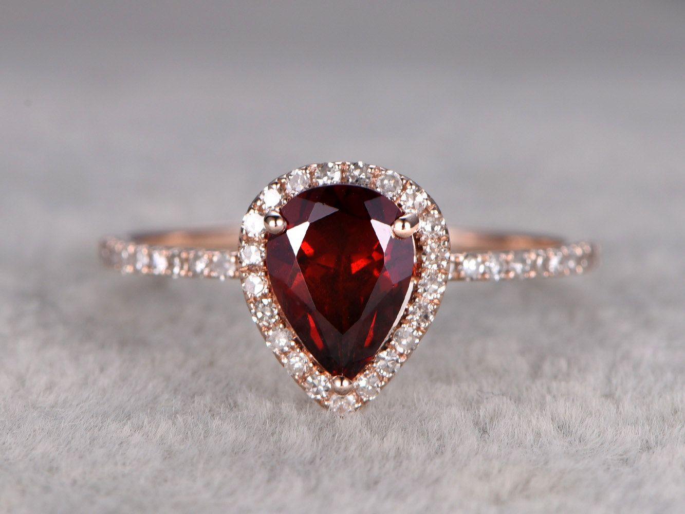 a3e3f55934a66 1.2ct Pear Cut Red Garnet Engagement ring Rose gold,Diamond wedding ...