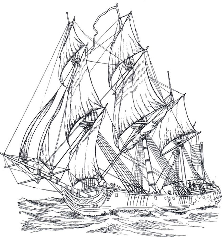 Advanced Coloring Pages Of Sailing Ship For Adults Coloring