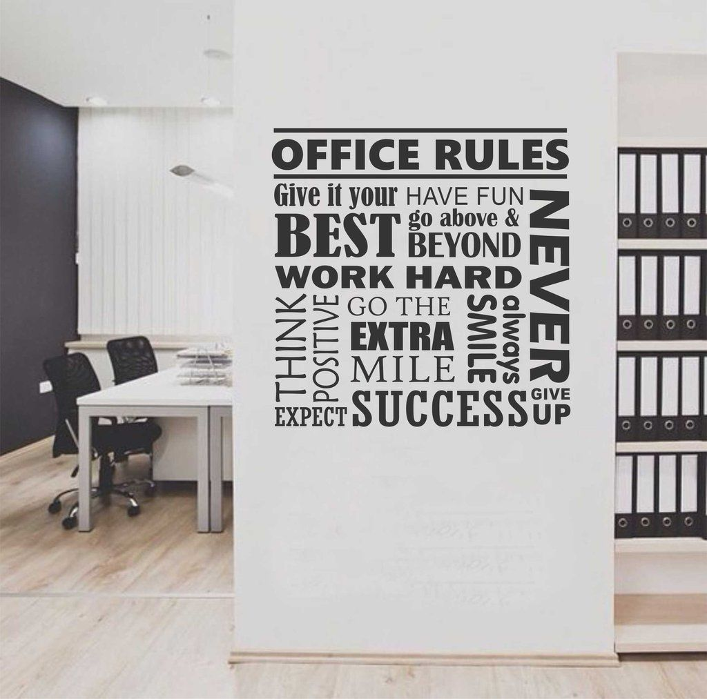 Office rules collage quote wall lettering vinyl office for Adhesive wall decoration