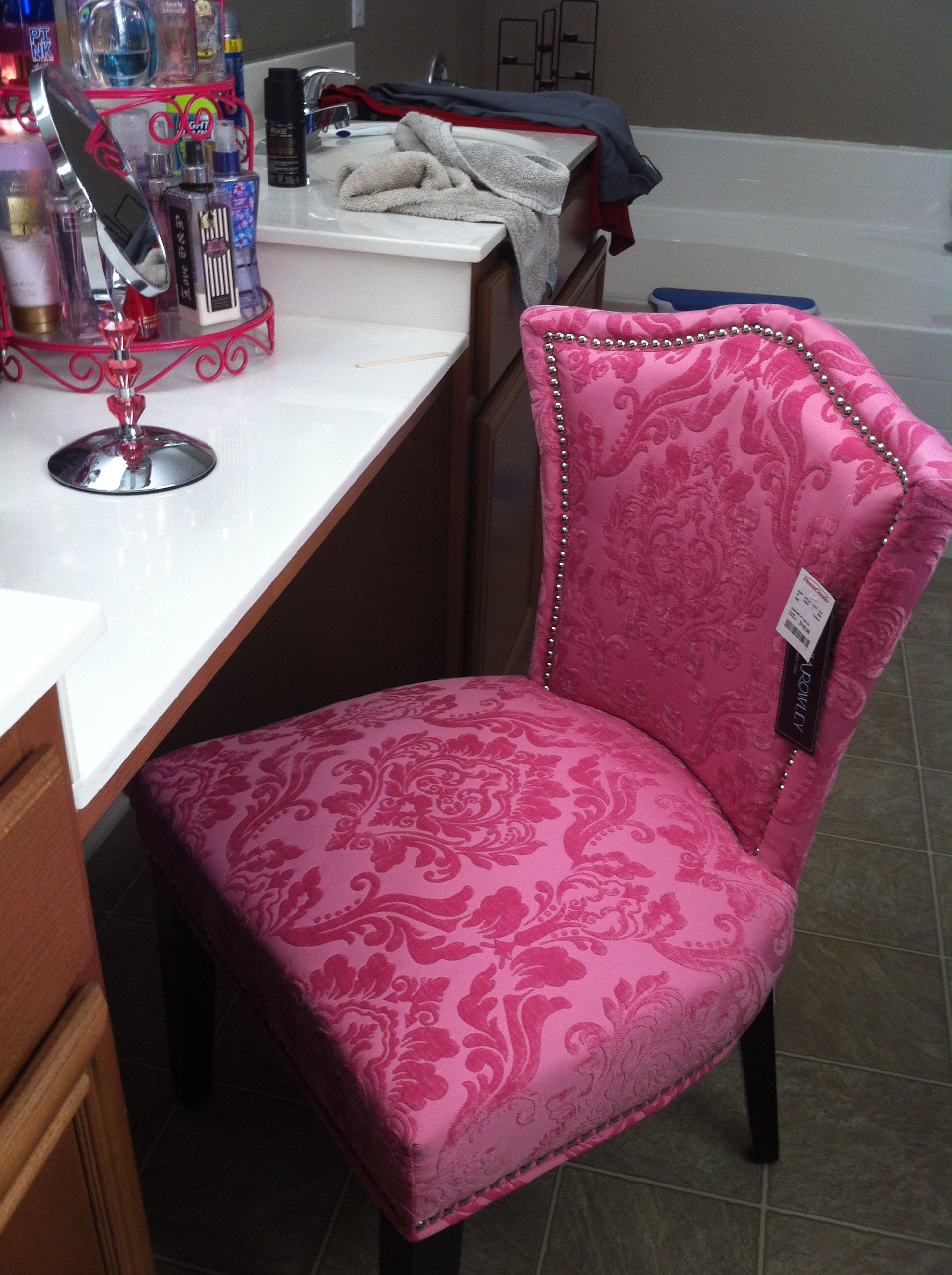 My chair I bought at home goods for my cute vanity!!   Makeup ...