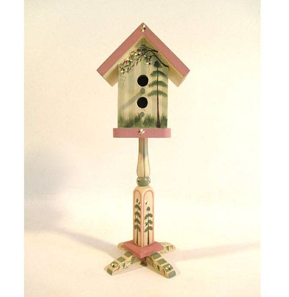 Bird House on a Pedestal Vintage Painted with Bees Cottage