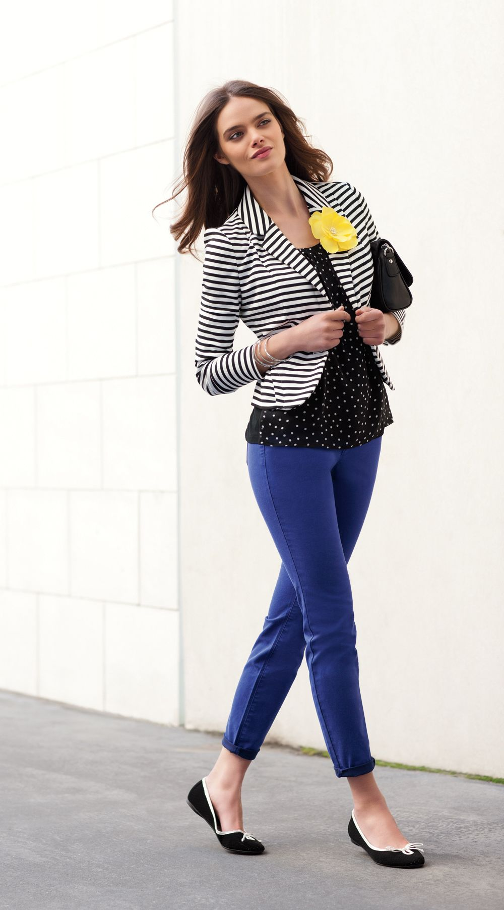 ab7476438e Layers: color jeans or skirt with black & white striped blazer + subtle  polka dots (Love the bright color block flower brooch/ pin)