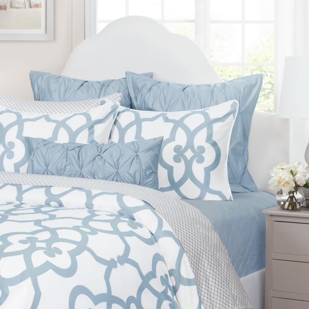 Geometric Blue and White Bedding The Florentine French