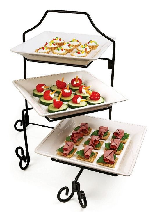 Three Tiered Serving Platters Ceramic Wrought Iron Stand Tiered Serving Platters Tasting Set Serving Platter Ceramic