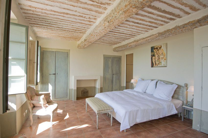 Fabulous ceiling with wooden beams in one of 5 bedrooms in this holiday rental country home in Provence. Visit the property page to see the whole interior. www.purefrance.com/06064