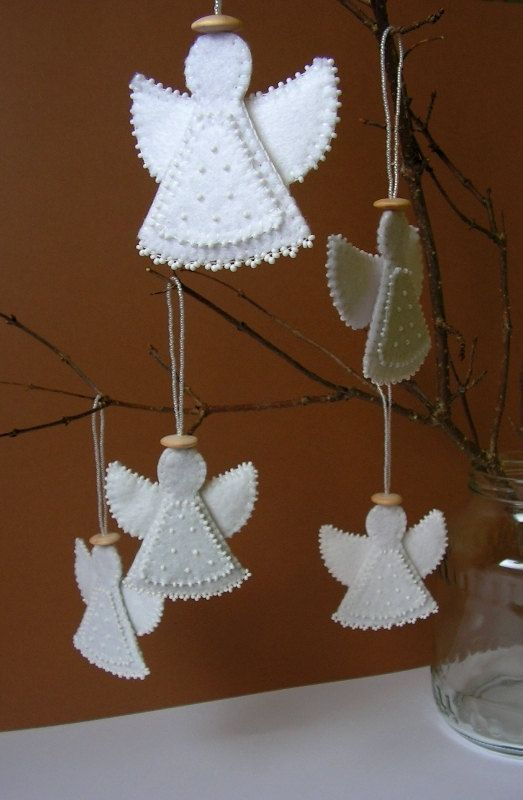 Felt Angel Decoration White Angel Ornament Christmas Angel