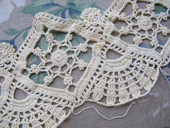 Ecru Crocheted Lace Trim Handmade Repurpose New Use For Old