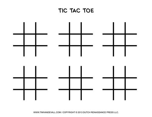 Blank Tic Tac Toe Templates  Free Classroom Games