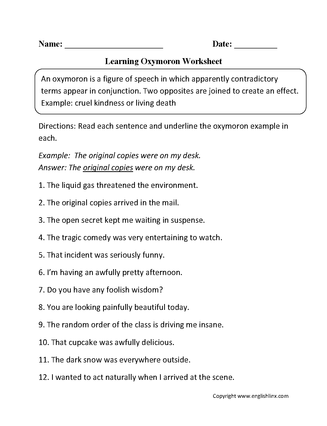 Oxymoron Figurative Language Worksheets