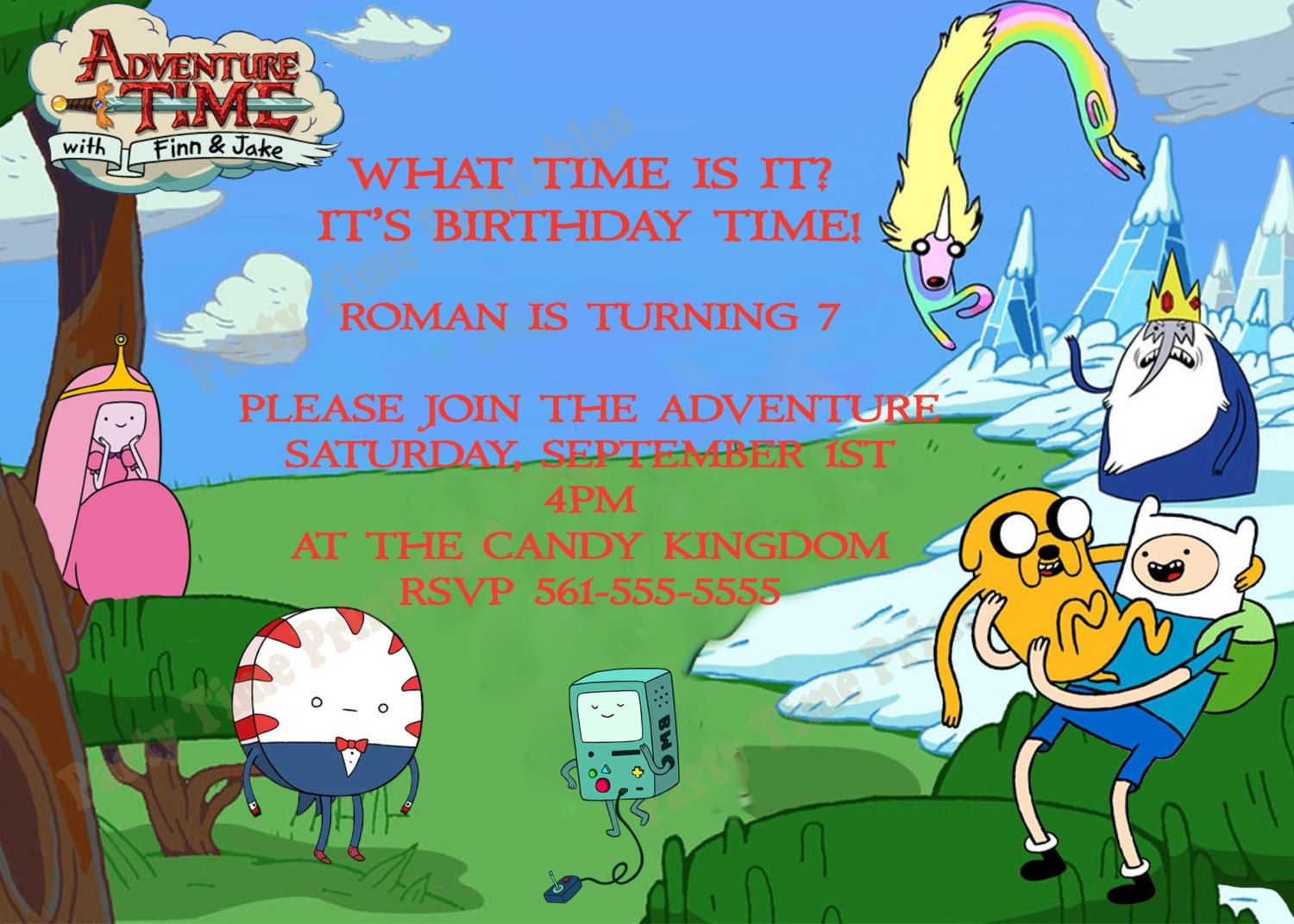 Adventure Time Party Invitations - Personalized Party Invites ...