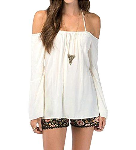 747ecd4814041a Amoin Womens Halter Backless Cross Straps Loose Off Shoulder Shirt Blouse  Top  A6365