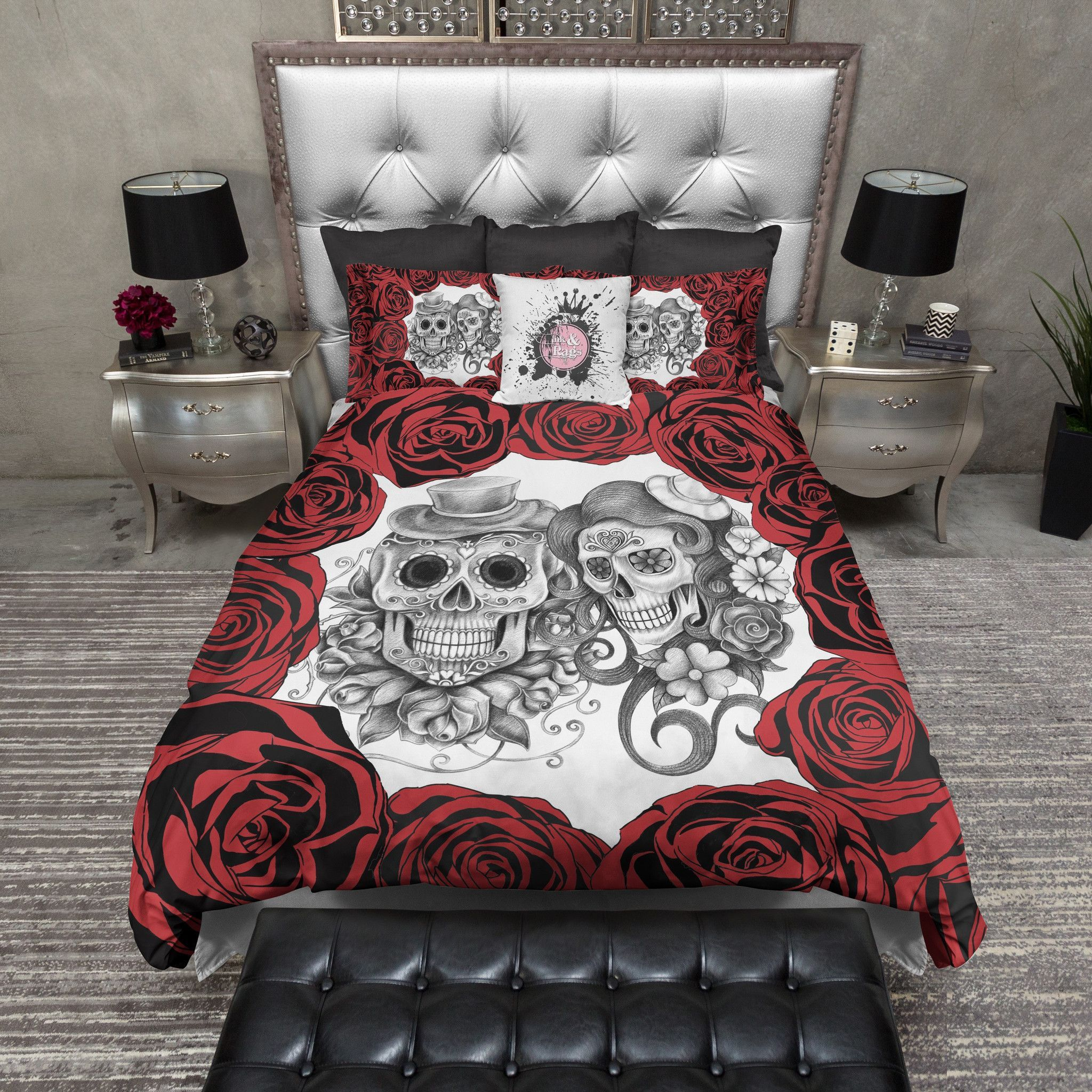 Red Rose Pencil Sketch Sugar Skull Bedding | Duvet bedding sets ...