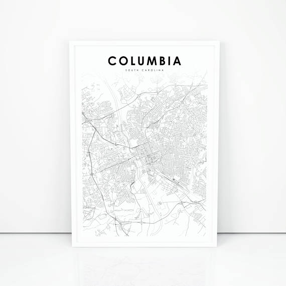 Columbia Map Print, South Carolina SC USA Map Art Poster, City ...