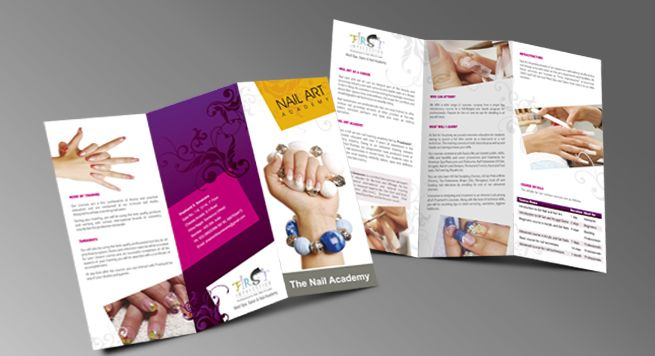 two fold brochure designing for nail treatment beauty saloon by
