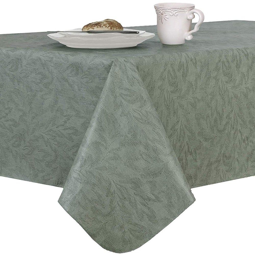 Damask Print Flannel Backed Vinyl Round Tablecloth With Umbrella