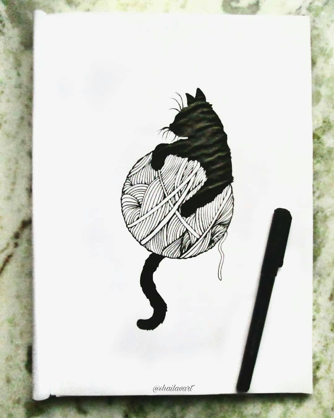 "Repost @shailavdas And she said, ""Purr Purrr"". TAG A CAT LOVER... #illustration . . . . . . . #sketc..."