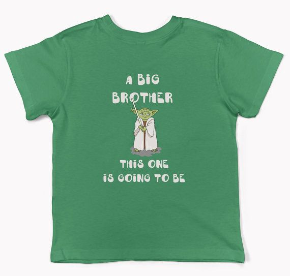 3d673924 Big Brother announcement shirt Star wars boy's tee Yoda   Silhouette ...