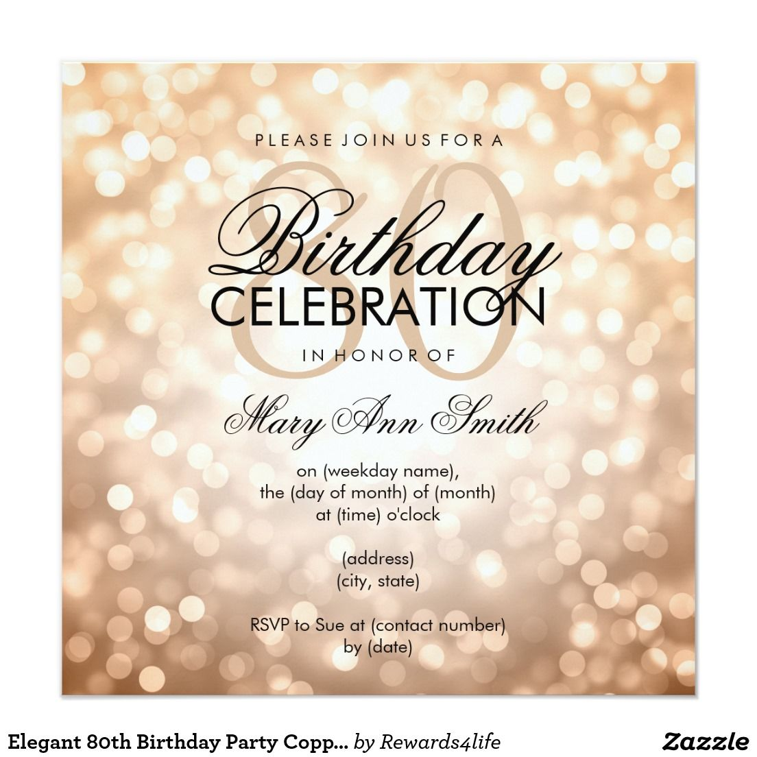 Elegant 80th Birthday Party Copper Glitter Lights Card | 80 birthday ...
