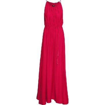 Red Spaghetti Strap Pleated Full Length Dress - Sheinside.com
