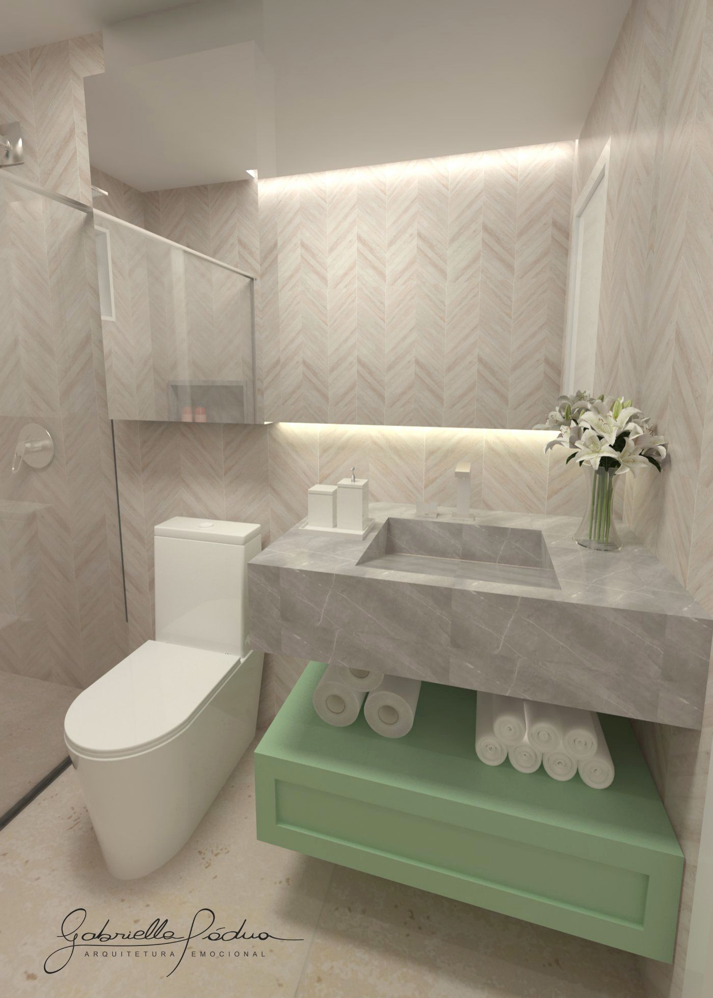 Banheiro Com Revestimento Em Chevron Zig Zag Com Pia Esculpida