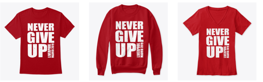 Mo Salah Never GIVE UP Liverpool T Shirt Champions League Final Madrid 2019 NGU1