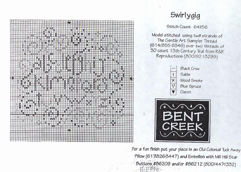 Free Bent Creek Cross Stitch   Bent Creek Swirlygig free chart