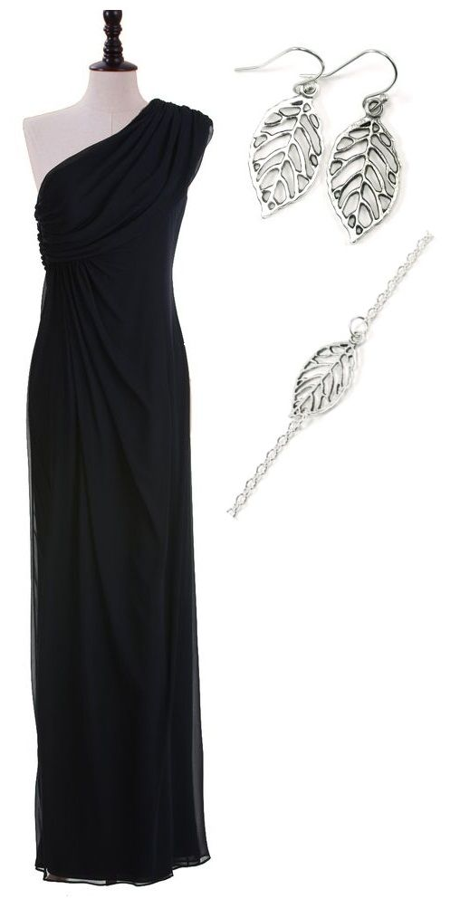 Earrings and bracelet from The Perfect Heist, looks amazing with this black dress!