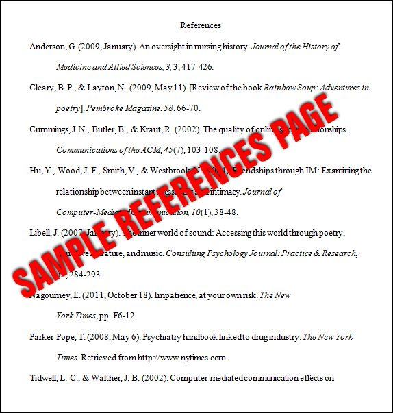 Sample Page: Essay Basics: Format A References Page In APA Style