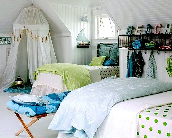 What a fun beach themed room and with a charming hanging tent for Girl themed bedroom ideas