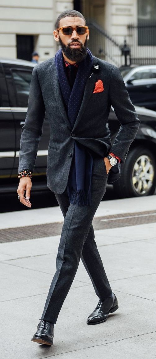 f890f1e13fa ... idea with a gray suit navy polka dot scarf red polka dot pocket square  watch wrist accessories silver lapel pin plaid shirt sunglasses black shoes   suit ...
