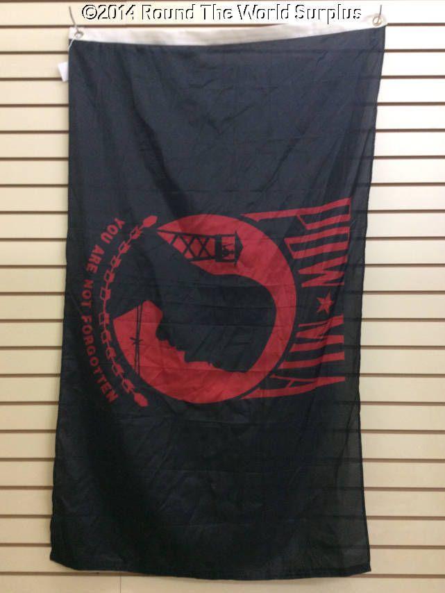SOLD - POW/MIA Red Flag (3x5 Super Poly) www.roundtheworldsurplus.com