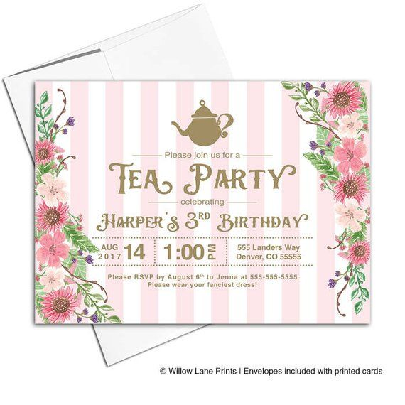 Girls Tea Party Invitations Third 3rd Birthday For Three 3 Year Old Gir