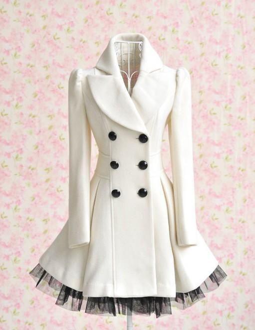 3 - Elegant Gothic Double Breasted Gauze Trimming Coat