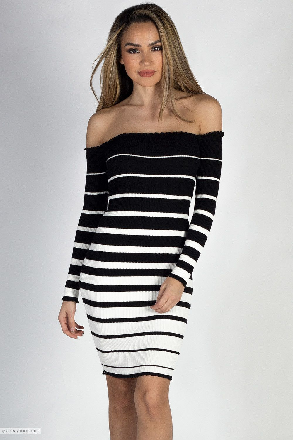 eee6ae4a5f Stretchy Ribbed Knit Black   White Stripes Long Sleeve Off Shoulder Dress