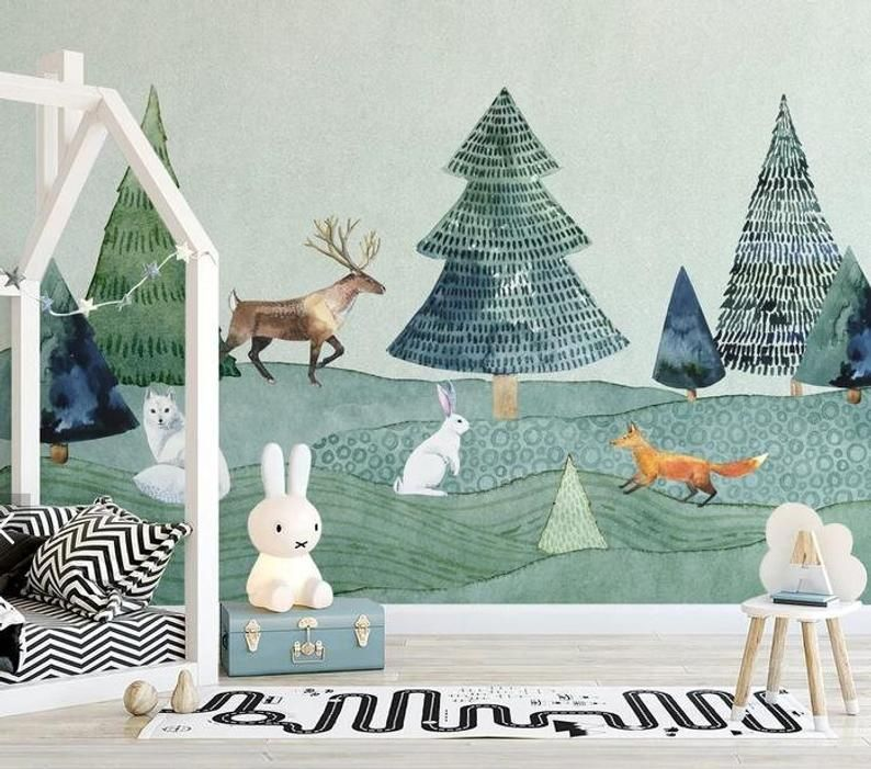 3D Kids, Cartoons, Animal, Forest WallpaperNursery
