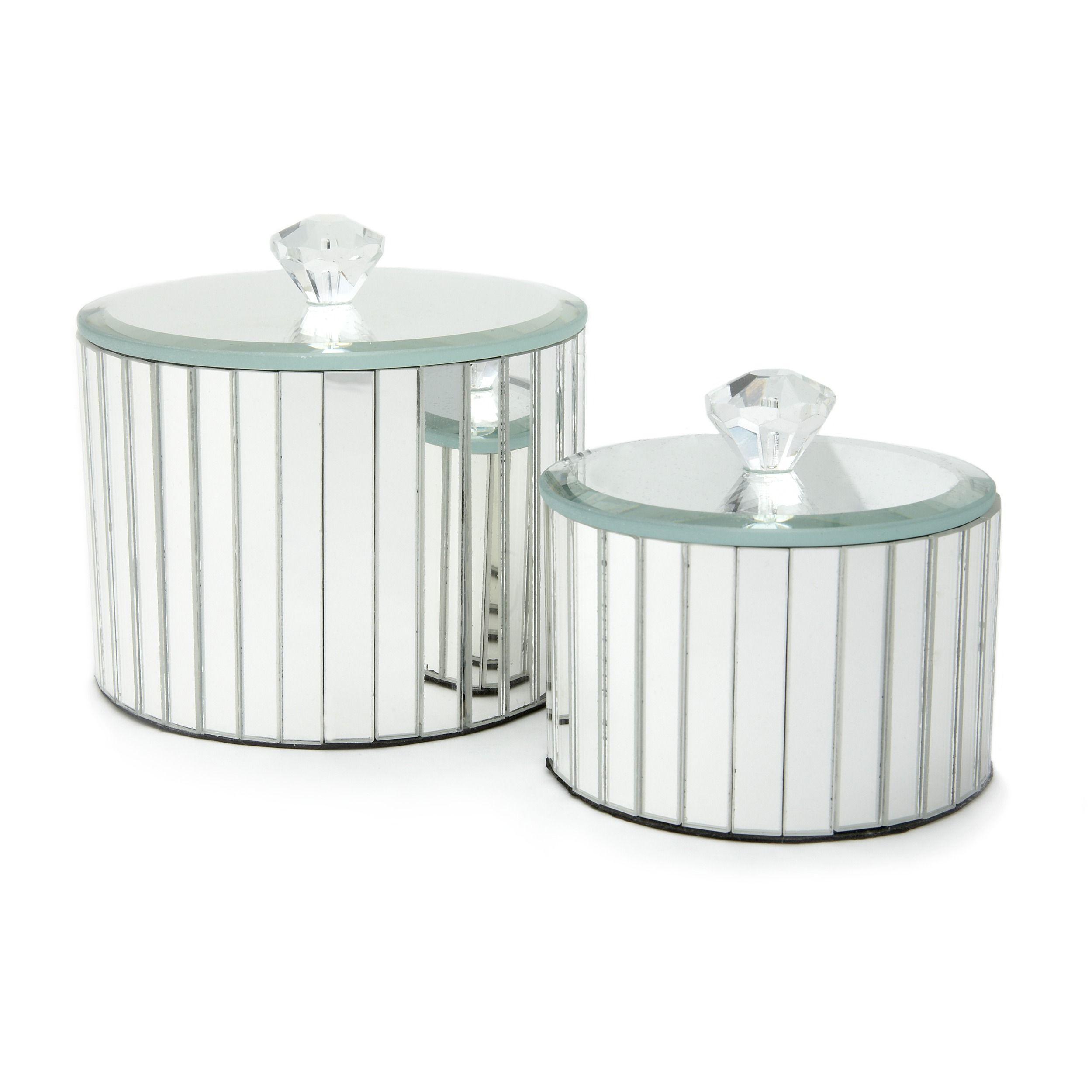 Decorative Round Boxes Set Of 2 Round Mirrored Trinket Boxes At Laura Ashley  Duckegg