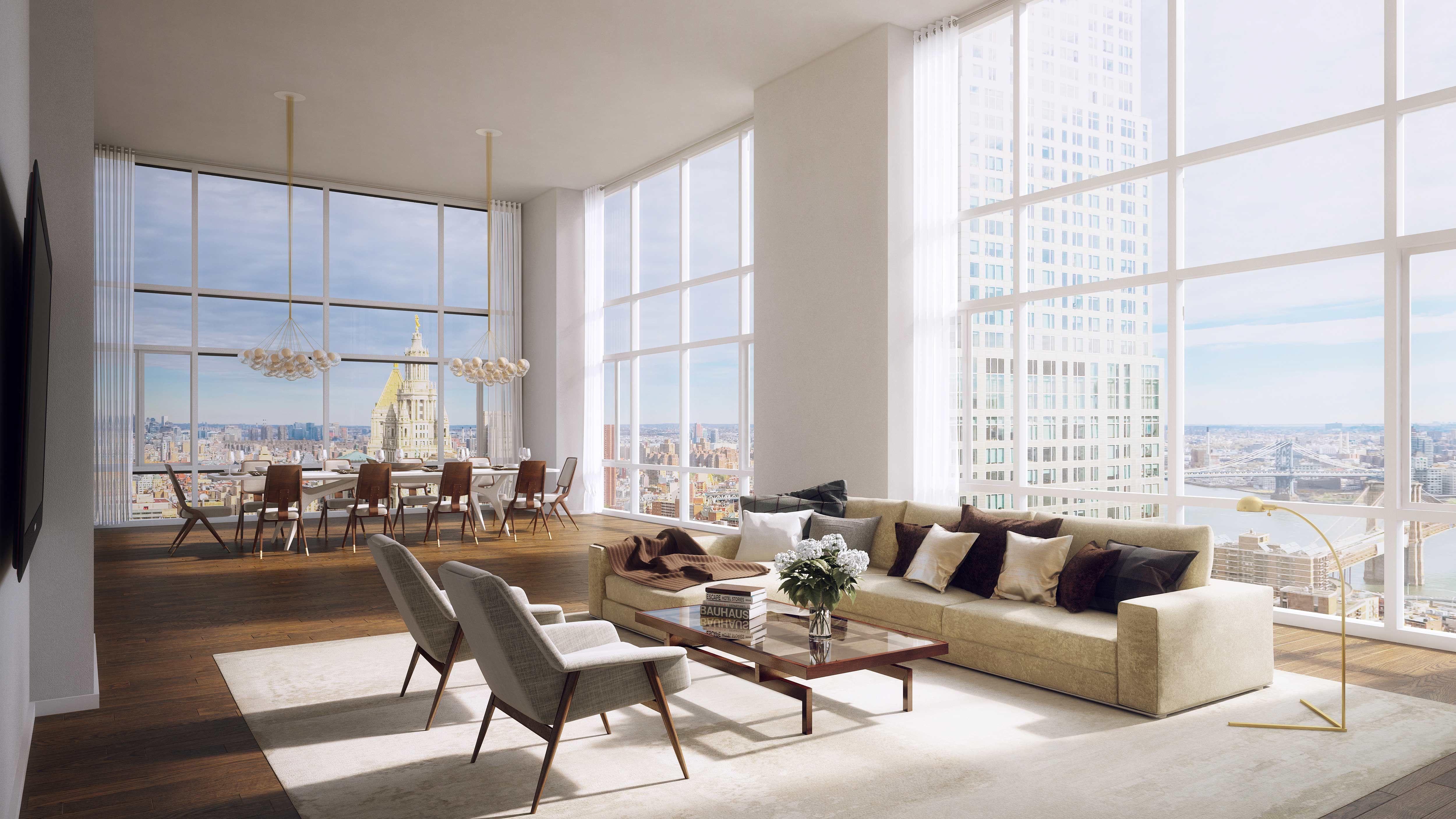 Manhattan penthouse living room