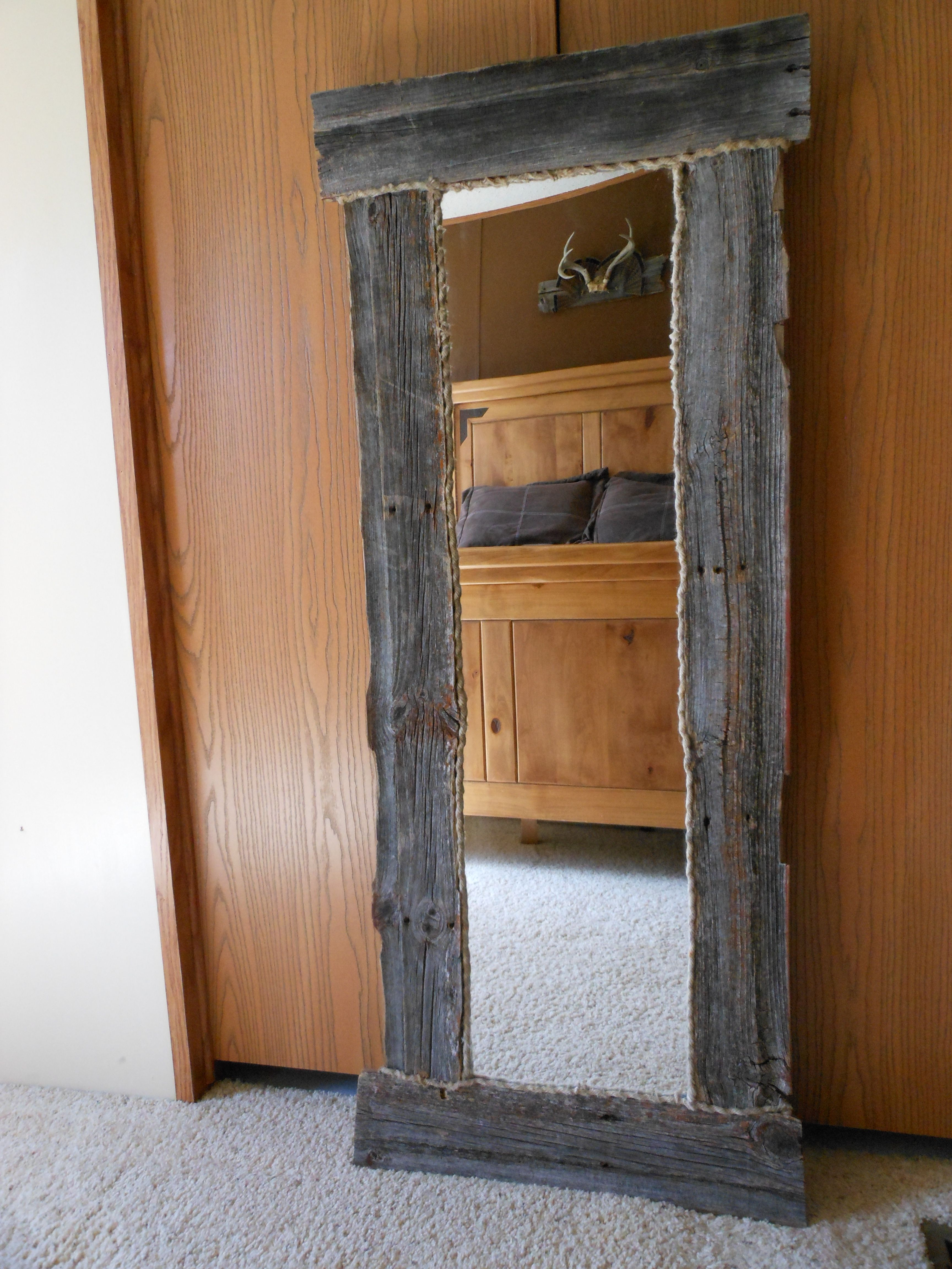 Barn Wood Mirror Rustic Home Decor: Barn Wood Mirror With Rope Edging I Made