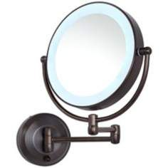 Cordless Led Pivoting 9 Wide Bronze Wall Mount Mirror Wall