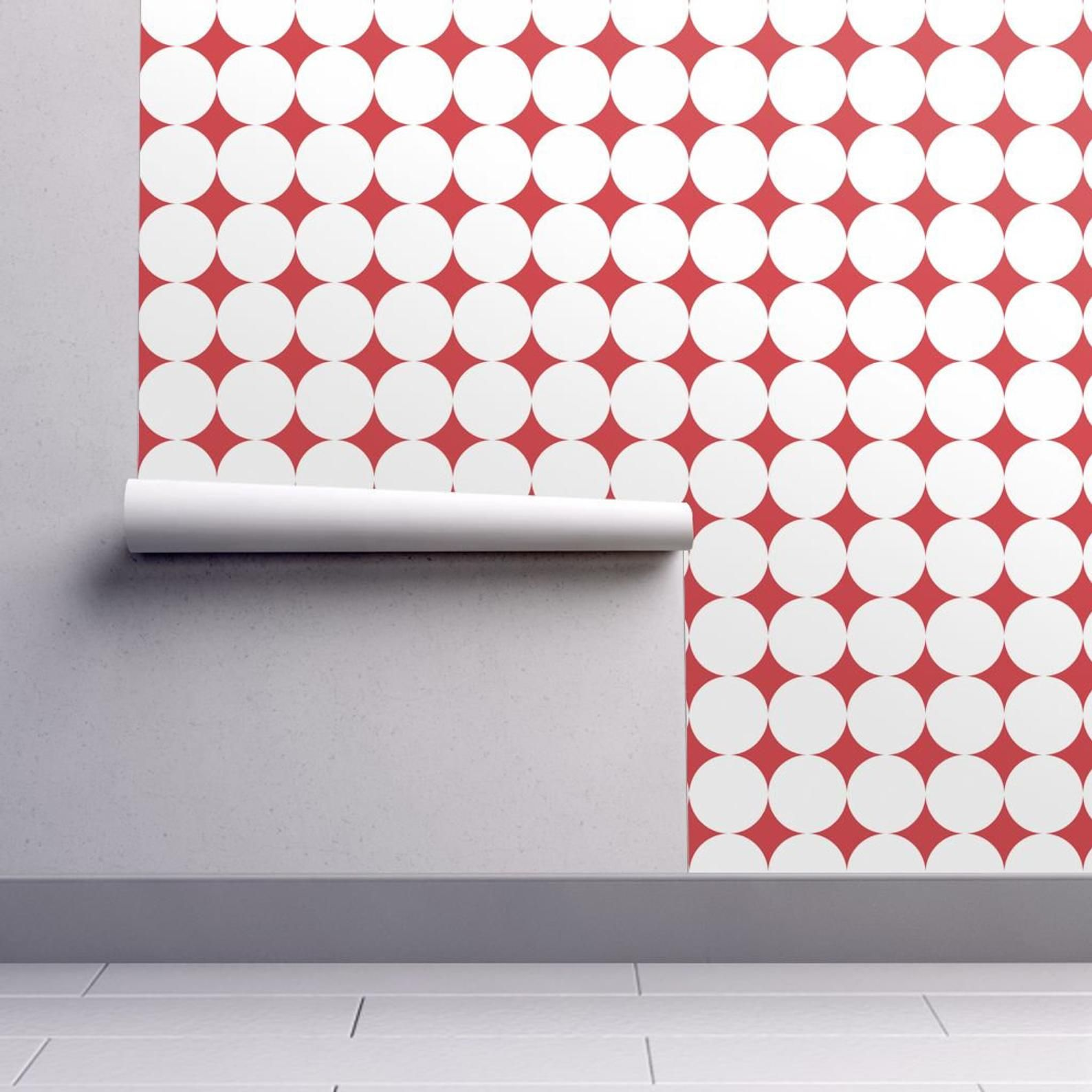 Mod Wallpaper Polka Dot White On Red By Juliesfabrics Etsy Self Adhesive Wallpaper Peel And Stick Wallpaper Spoonflower Wallpaper