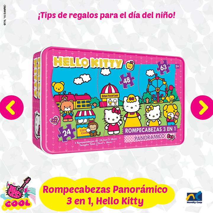Rompecabezas panorámico Hello Kitty, Incluye 3 rompecabezas (24 pzas, 48 pzas y 63 pzas) en envase metálico coleccionable.