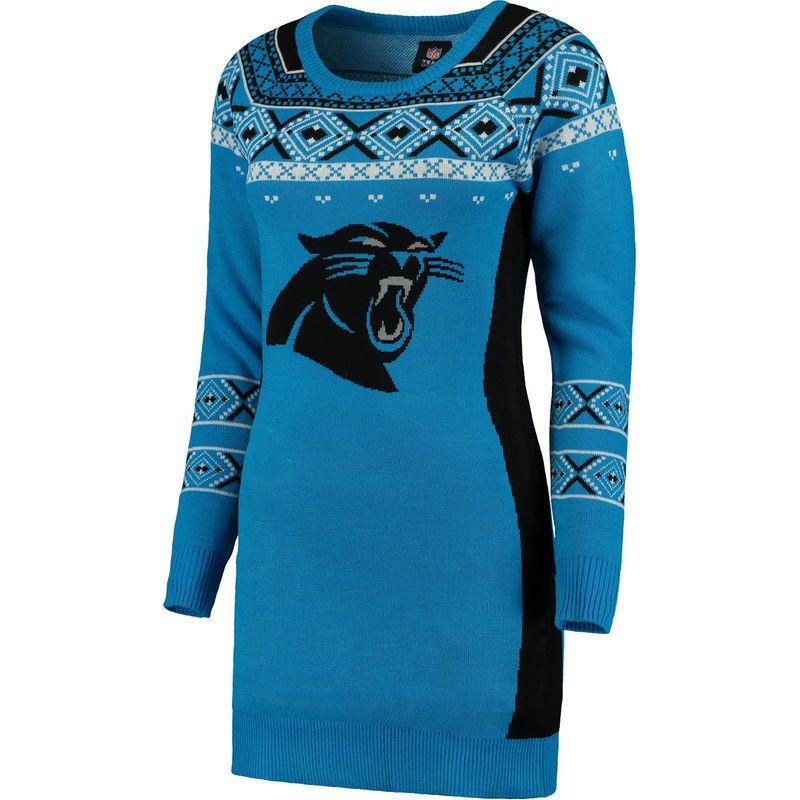 more photos febe2 da85b Carolina Panthers Klew Women's Big Logo Ugly Sweater Dress ...