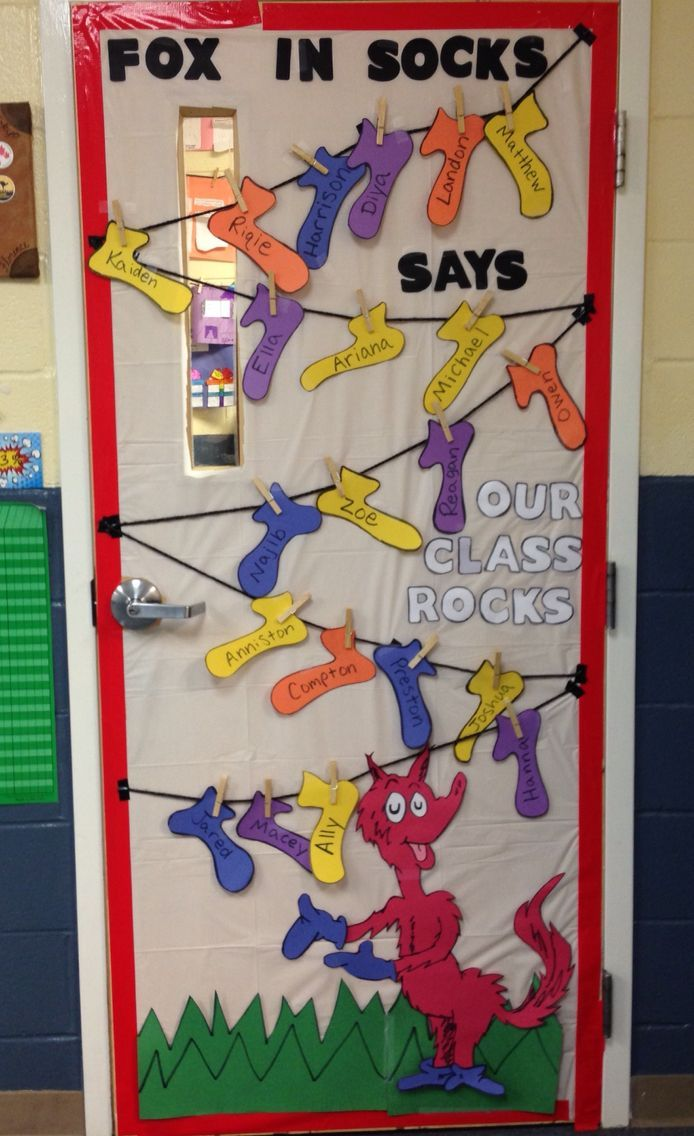 Classroom Decorations Dr Seuss ~ Dr seuss fox in socks classroom door decoration