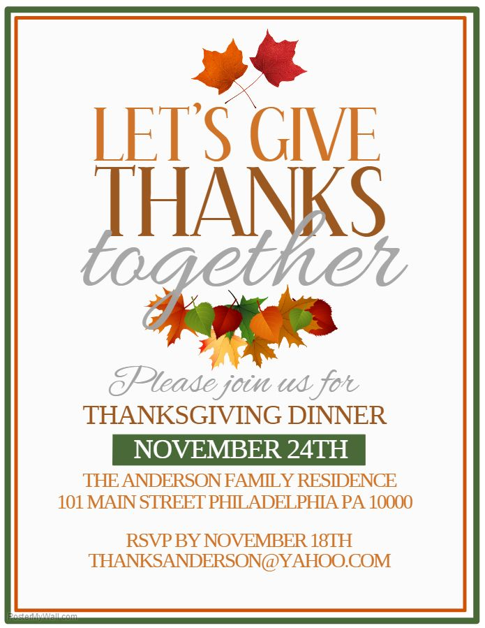 Thanksgiving Dinner Poster Template - Let\'s Give Thanks Together ...