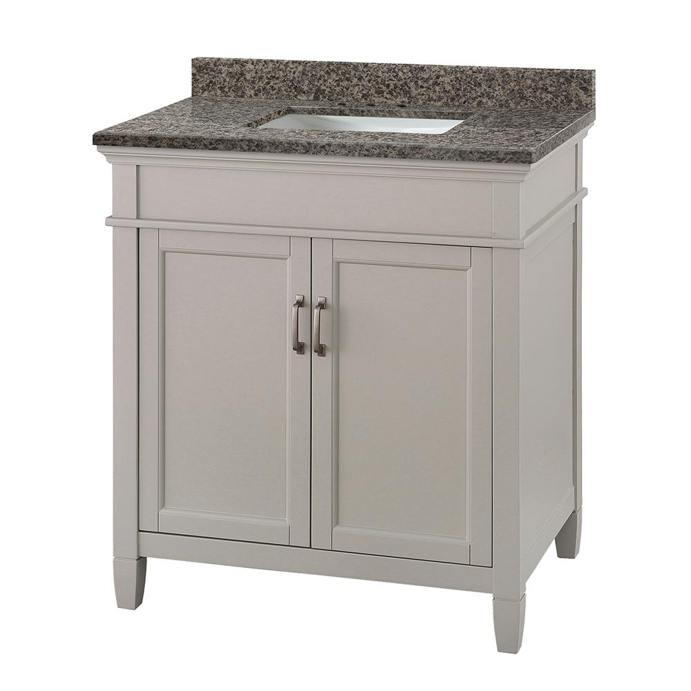 d vanity in grey with granite vanity top in sircolo with white basin