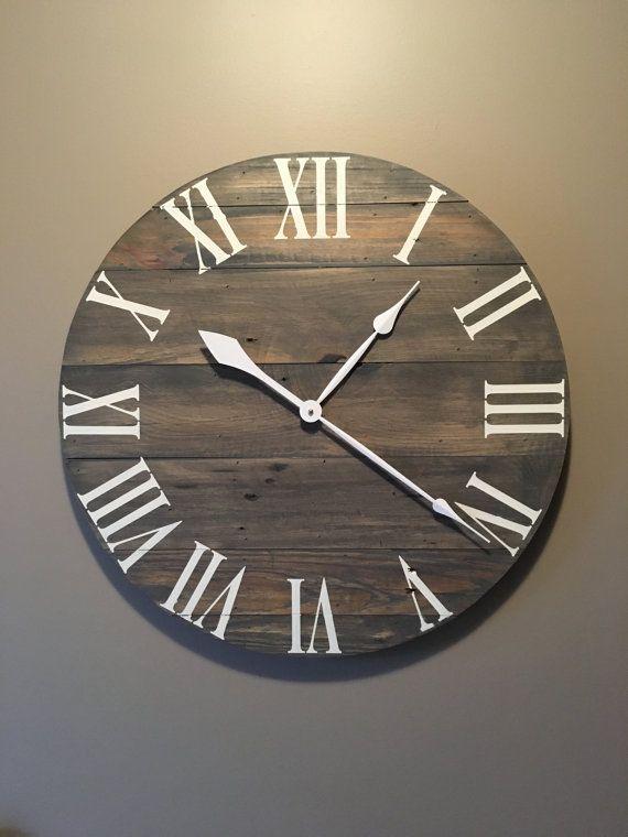 Large Gray Rustic Wood Clock Pallet Clock Reclaimed Wood Clock