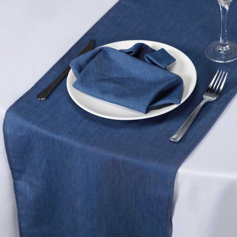 14x108 dark blue faux denim polyester table runner